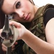 Army Woman With Gun - Beautiful woman with rifle plastic - Stock Photo
