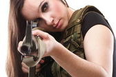 Army Woman With Gun - Beautiful woman with rifle plastic — Stock Photo
