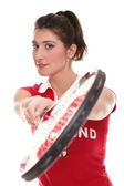 Isolated studio picture from a young woman with tennis racket — Stock Photo