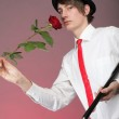 Portrait young man and rose enamoured love — Stock Photo #19972671