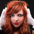 Lovely redhead - Young beautiful red haired woman — Stock Photo