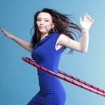 Dance hoop Beautiful woman in blue — Stock Photo