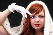 Lovely redhead - white glove warm scarf Young beautiful red hair — Stock Photo