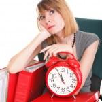 Woman work stoppage Overworked businesswoman plenty of documents — Stock Photo #22065531