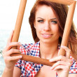 Woman Holding Frame travel concept - Stock Photo