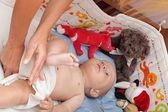Baby boy in diaper — Stock Photo