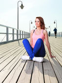 Attractive girl Young woman pier sea — ストック写真