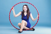 Dance hoop Beautiful woman in blue — Stock Photo