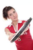Studio na białym tle obraz z młodą kobietę z rakieta tenisowa — Zdjęcie stockowe