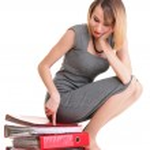 Woman work Overworked businesswoman plenty of documents isolated — Stock Photo #26507765