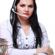 Young brunette girl with headphones — Stock Photo