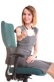 Happy excited young businesswoman, relaxing in office chair, rel — Stock Photo