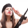 Girl holding Rifle islated on white background — Stock Photo #26742163