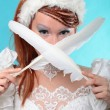 Beautiful ginger in dress of Snow Queen — Stock Photo #26908081