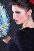 Closeup retrato do ventilador de dançarina de flamenco — Fotografia Stock