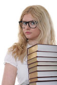 Beautiful young woman with books white background — Stock Photo