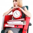 Woman work stoppage Overworked businesswoman plenty of documents — Stock Photo #27849601