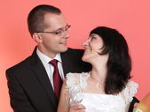 Happy smiling bride and groom — Stock Photo