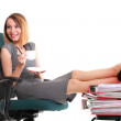 Woman work stoppage businesswoman relaxing legs up plenty of doc — Stock Photo #28915607