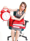 Woman work stoppage Overworked businesswoman plenty of documents — Stock Photo