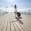 Beautiful woman girl sea mooring suitcase on a pier — Stock Photo #30074913