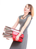 Woman work Overworked businesswoman plenty of documents isolated — Stock Photo
