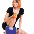 Portrait young healthy woman dieting concept — Stock Photo