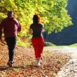 Woman and man walking cross country trail in autumn forest — Stock Photo #31138939