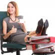 Woman work stoppage businesswoman relaxing legs up plenty of doc — Stock Photo