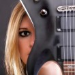 Sexy face girl and Guitar Woman — Stock Photo