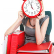 Woman work stoppage Overworked businesswoman plenty of documents — Foto Stock