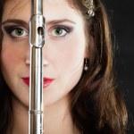 Art. Woman flutist flautist with flute. Music. — Stock Photo #49179769
