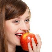 Diet. Girl eating biting apple seasonal fruit. — Stock Photo