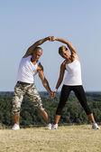 Jóga cvičení v přírodě — Stock fotografie