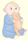 Baby with bear — Stock Vector