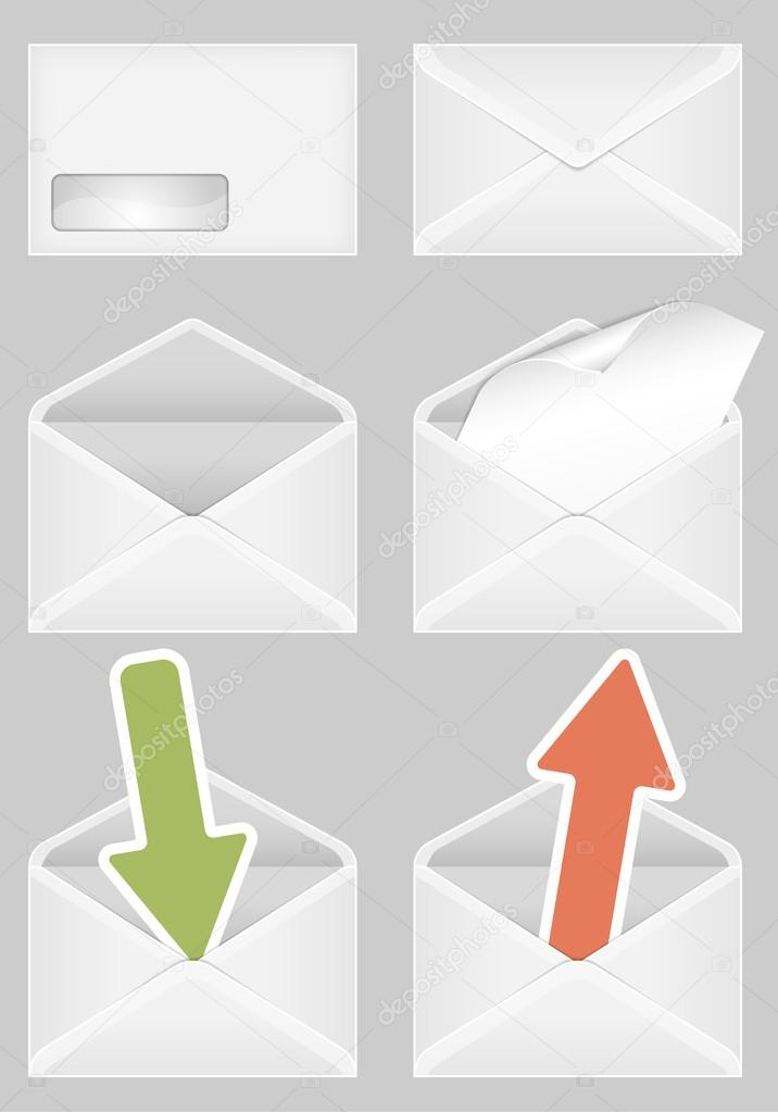 Set of Envelopes, open and closed with a Blank Sheet of Paper and Arrow  Stock Vector #12183102