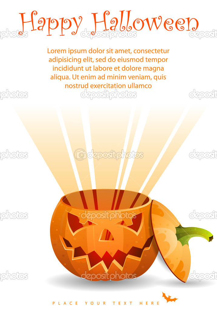 Greeting Card Halloween with pumpkin, vector illustration — Stock Vector #12287158