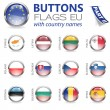 Buttons with EU Flags - Stockvektor