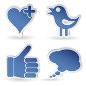Set Social Media Sticker — Stockvector