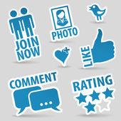 установить иконки социальных медиа — Cтоковый вектор