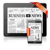 Breaking News Concept - Tablet PC & Smartphone Business News — Stock Vector