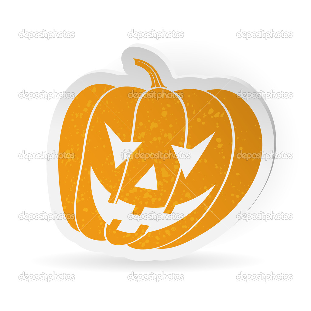 Halloween sticker with pumpkin, isolated on white background, vector illustration — Stock Vector #13437529