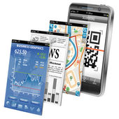 концепция - смартфон приложений — Cтоковый вектор