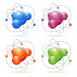 Set Atom Model — Stock Vector