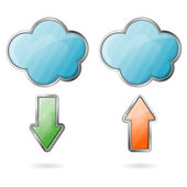 Upload and Download on Cloud Icon — Stock Vector