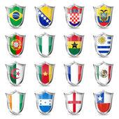 футбол флаги на шилдс — Cтоковый вектор