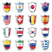 Soccer Flags on Shields — Stockvektor