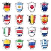 Soccer Flags on Shields — Stock Vector