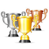 Set of Gold, Silver and Bronze Trophies — Vettoriale Stock