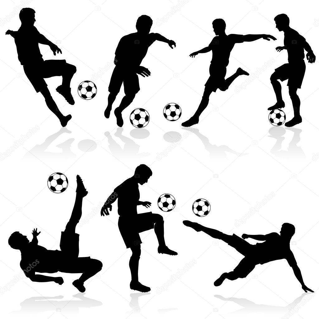 组的足球运动员在各种姿势与球的剪影